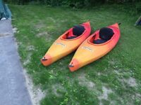 His & Hers matching 9.5' Swifty, Islander kayaks with paddles