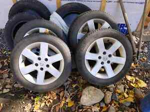 """Nissan mags 16"""" inch winter tires 205 55 16 5x114.3"""