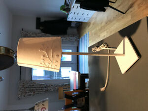IKEA bedside table lamp.  White on white.
