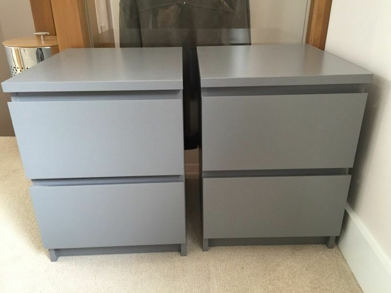 2 Ikea Malm Grey Bedside Tables Excellent Condition In