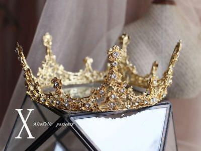 Luxury Gold Rhinestones Baroque Bridal Crown Tiara Wedding Bride Hair Headdress - Bride Crown