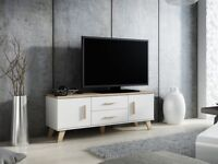 Brand new boxed lotta furniture in white and oak, tv units, sideboard units