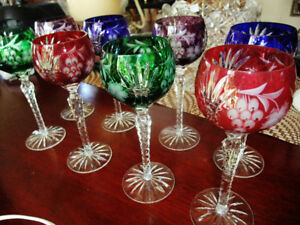 COLOURED CYSTAL WINE GLASSES BRAND NEW NEVER USED