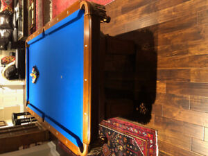 4.5 x 8 slate pool table with accessories & light fixture