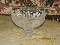 Crystal Pedestal Bowl - Pinwheel with Frosted Flowers.