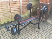Adidas weights bench and 45kg of weights