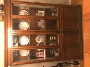 Cherry wood four door China cabinet