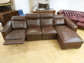 FREE DELIVERY large brown leather electric recliner corner sofa