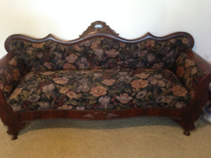 Professionally refinished & upholstered settee