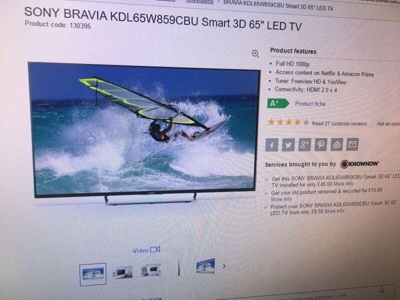"SONY BRAVIA KDL-65W955B 65"" LCD 3D SMART TV ,"