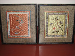 Vintage Chinese Silk Fabric Hand Embroidered Art Pictures Pair 2