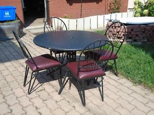 4 Wrought Iron Chairs with Table & Chair/Table Combo