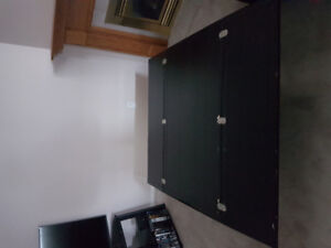 black fold out coffee table.