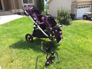 Mint City Select double with snack tray and car seat adaptor