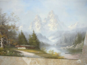 Original oil painting, mountains and forests