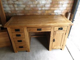 Oak Furniture Land Original Rustic Solid Oak Computer Desk