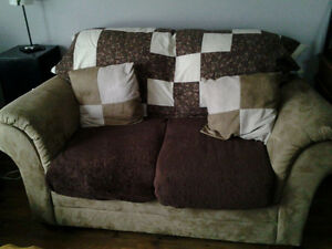 microfibre suede loveseat with 2 pillows