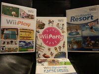 Wii Sports, Wii Sports Resort, Wii Party, Wii Play