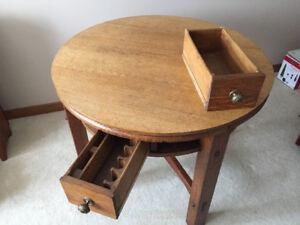 Vintage Solid Oak Games Table