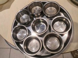 Stainless steel tray with small bowls