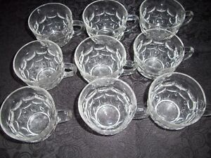 9 Antique THUMBPRINT PUNCH BOWL CUPS /MUGS Perfect!