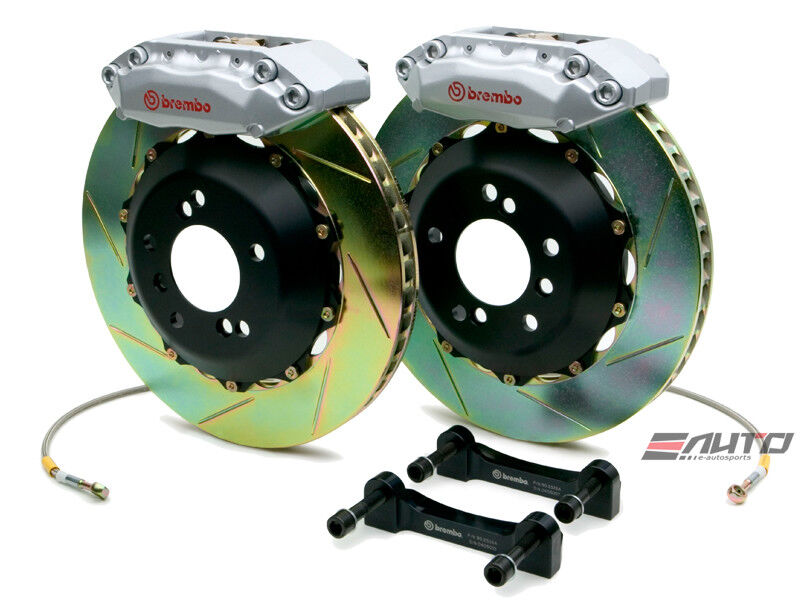 Brembo Front Gt Bbk Brake 4pot Silver 328x28 Slot Disc Rotor S2000 00-09 Ap1 Ap2