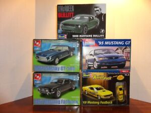 5 MUSTANG 1/25 SCALE PLASTIC MODEL KITS (1967, 68, 69, 95