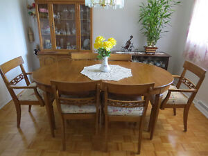 DINNING ROOM SET - TABLE- 6 CHAIRS - GLASS TOP BUFFET PRICE DROP