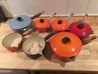 Job lot of me creuset and cast iron vintage pots/pans kitchen mixed condition
