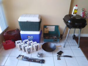 FISHING & CAMPING EQUIPMENT. BBQ, STOVE, COOLER, ROD & REEL, AXE