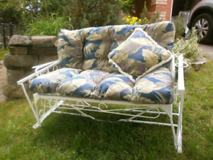 Vintage Mid-Century Wrought Iron Patio Bench Glider