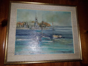 Spectacular vintage (ca 1960s) large 20 by 26 oil on board Lands