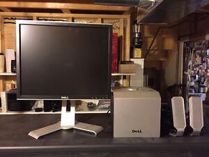Flat Screen Computer Monitor + Computer Speakers