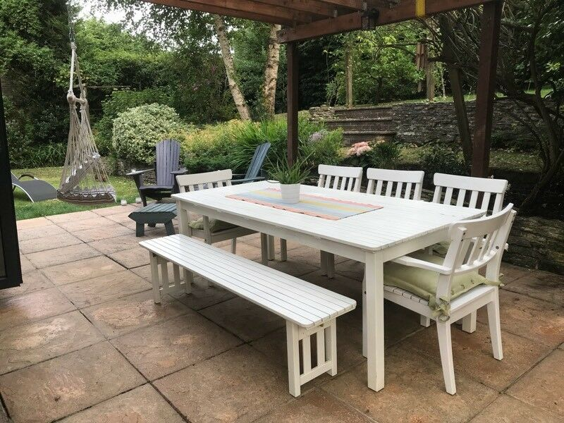 Astonishing Ikea White Wood Garden Table Chairs And Bench In Hedge End Hampshire Gumtree Andrewgaddart Wooden Chair Designs For Living Room Andrewgaddartcom