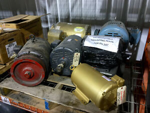 Various used electric motors, fractional HP up to 350 HP motors