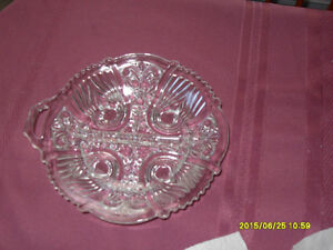Vintage glass serving dish with a divider