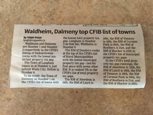 Dalmeny Number 1 on CFIB List of Towns!