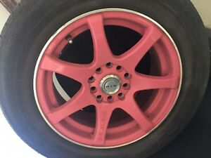 195/65 R15, 4 KUMHO all season tires with pink MAGS