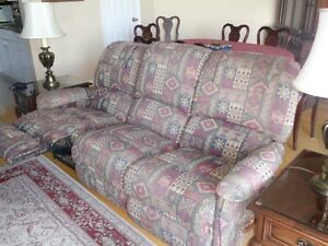 Two Recliner Sofa and Two Brass Glass Top Side Tables