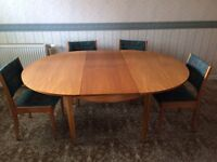 Late 1960's dining room table and chairs