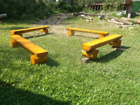 4   fire pit log  benches