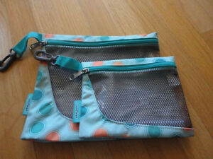 Brand new set of 2 Jansport green polka dot pencil cases pouch London Ontario image 1