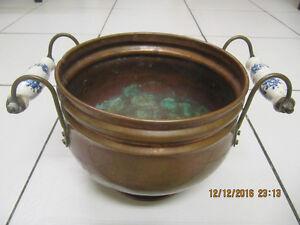 "Vintage Hand Hammered 7"" diameter Copper Planter Circa 1950-60s"
