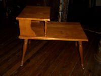 Solid wood step table, circa 1960