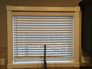 Pair of White Faux Wood Blinds