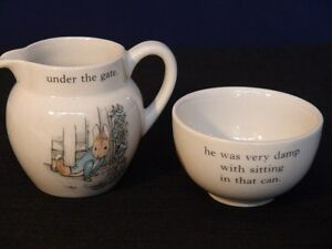 Wedgwood Peter Rabbit Sugar Bowl and Milk cup