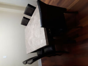 Marble top dining table with chairs