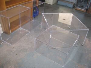 4 CLEAR PLEXIGLASS STACKING OPEN END BOXES GREAT WINDOW DISPLAY