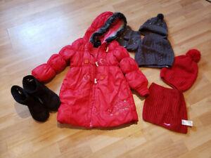 Manteau d'hiver fille  souris 5-6 ans avec accessoires