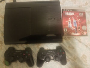 PS3 super slim 250gb for sale with 2 controllers & 3 games